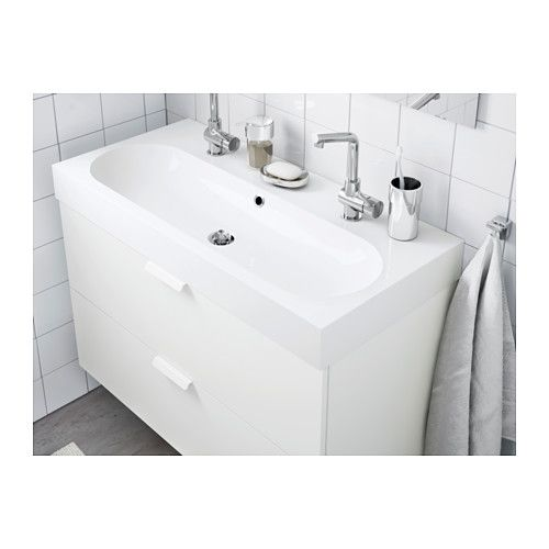 Braviken Lavabo 1seno Grande Blanco 100x48x10 Cm Ikea Small Double Sink Vanity Sink Bathroom Design