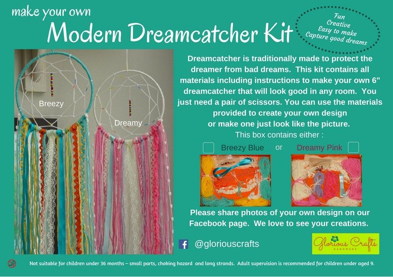 Dream Catcher Kit Boho Craft Kit For Adults Blue Pink Enchanting Dream Catcher Kits Supplies