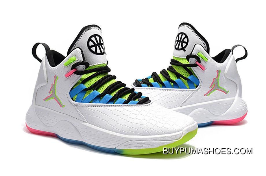 051a43deca9f Nike Jordan Super.Fly MVP Quai 54 Mens Basketball Shoes White Multi-Color  For Sale