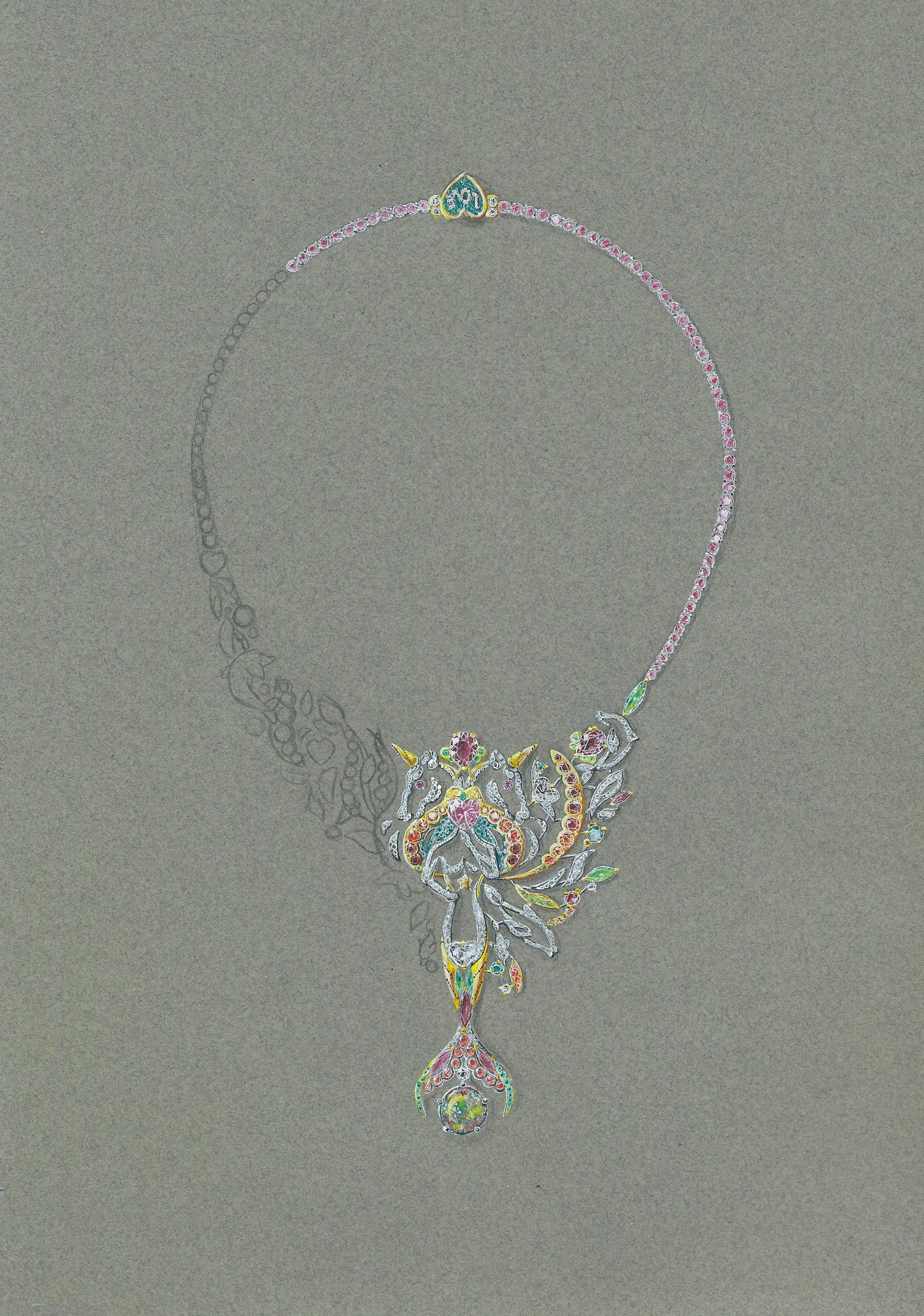 Tony FURION joaillerie gouaché jewellery rendering jewels gouache , collier sirène licorne et dauphin, necklance mermaid, unicorn and dolphin