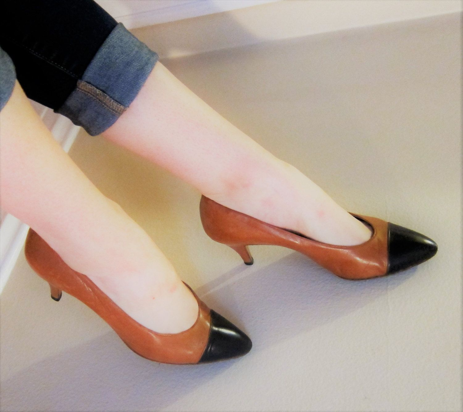 4071efb3a4933 Vintage 1980s CHANEL pumps in brown and black / 80s designer two ...