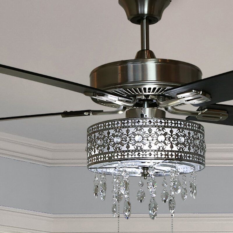 House Of Hampton 52 Noyes Crystal 5 Blade Ceiling Fan With Remote Light Kit Included Ceiling Fan Chandelier Ceiling Fan With Light Ceiling Fan With Remote