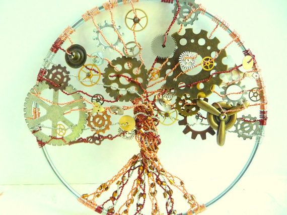 LARGE 5 inch Stempunk Tree of Life Wall Art Suncatcher with Gears ...