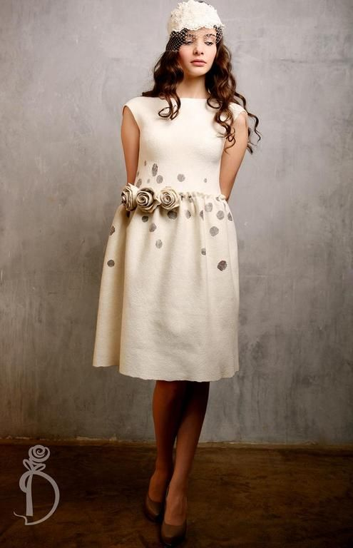 Купить Валяное платье «Secret» - белый, свадьба, нежность, торжество, кофе, ирина демченко, утонченность