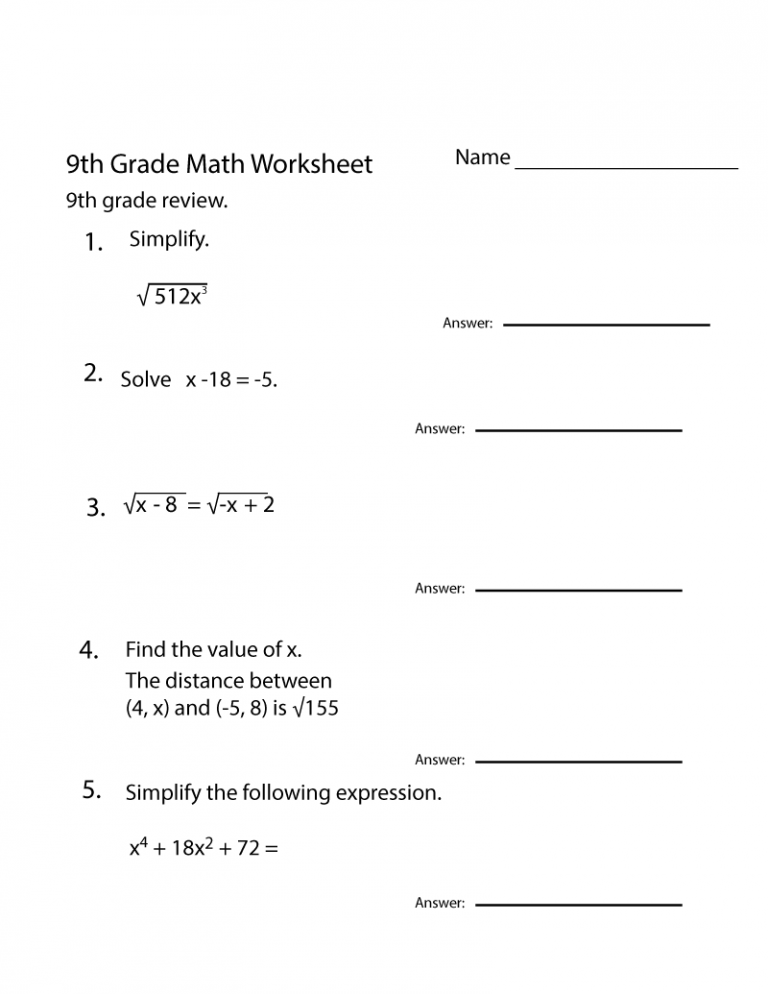 Grade 9 Math Worksheets Printable Free 9th Grade Math Math Worksheets Year 9 Maths Worksheets
