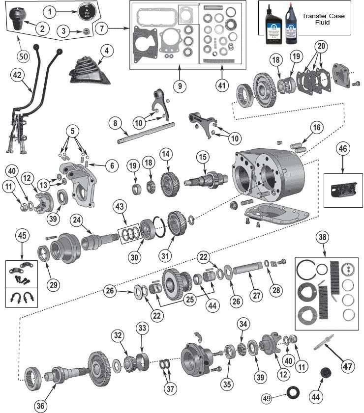 interactive diagram - dana 300 transfer case for jeep cj7 & cj8 scrambler  at morris 4x4 center