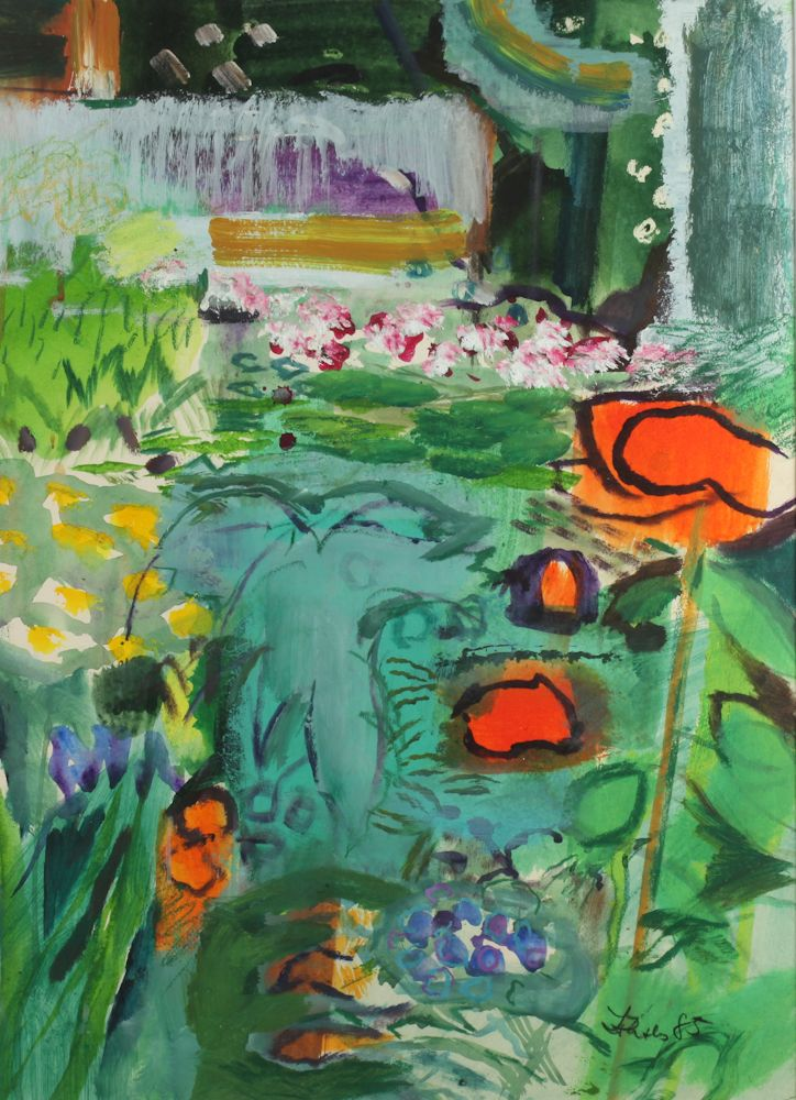 AMERICAN SCHOOL (20th century). ABSTRACT GARDEN, signed