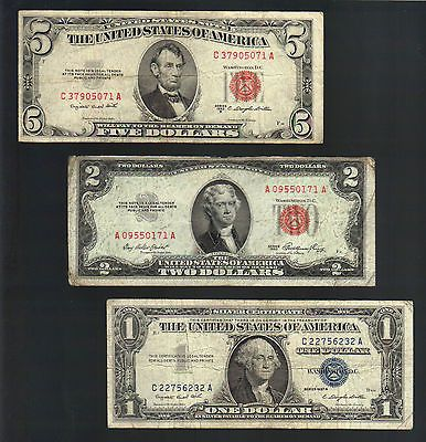 OLD MONEY $1 SILVER Blue Seal Certificate+ $2& $5 Dollar RED Seal US ...