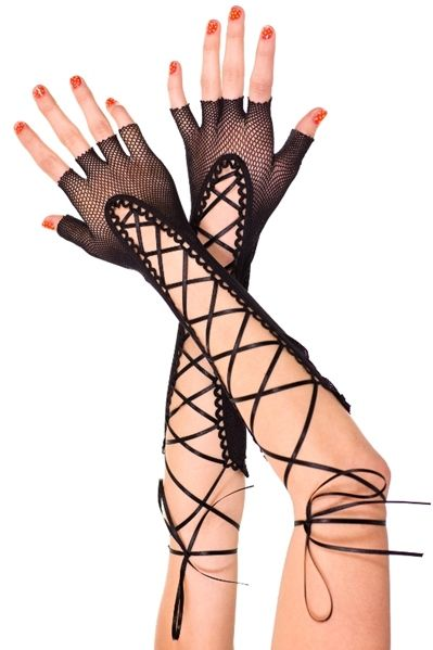 9ddb87f867fc6 Long Lace up Fishnet Gloves. #gallserp www.galleryserpentine.com ...