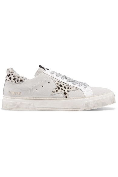 Superstar Distressed Leather, Suede And Leopard-print Calf Hair Sneakers - White Golden Goose