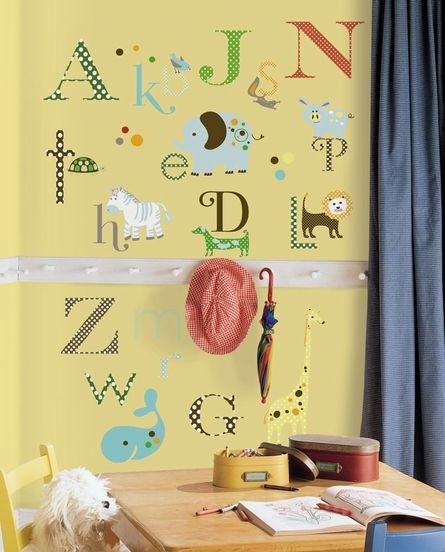 Animal Alphabet Peel  Stick Wall Decals The Alphabet Abc Wall - Instructions on how to put up a wall sticker