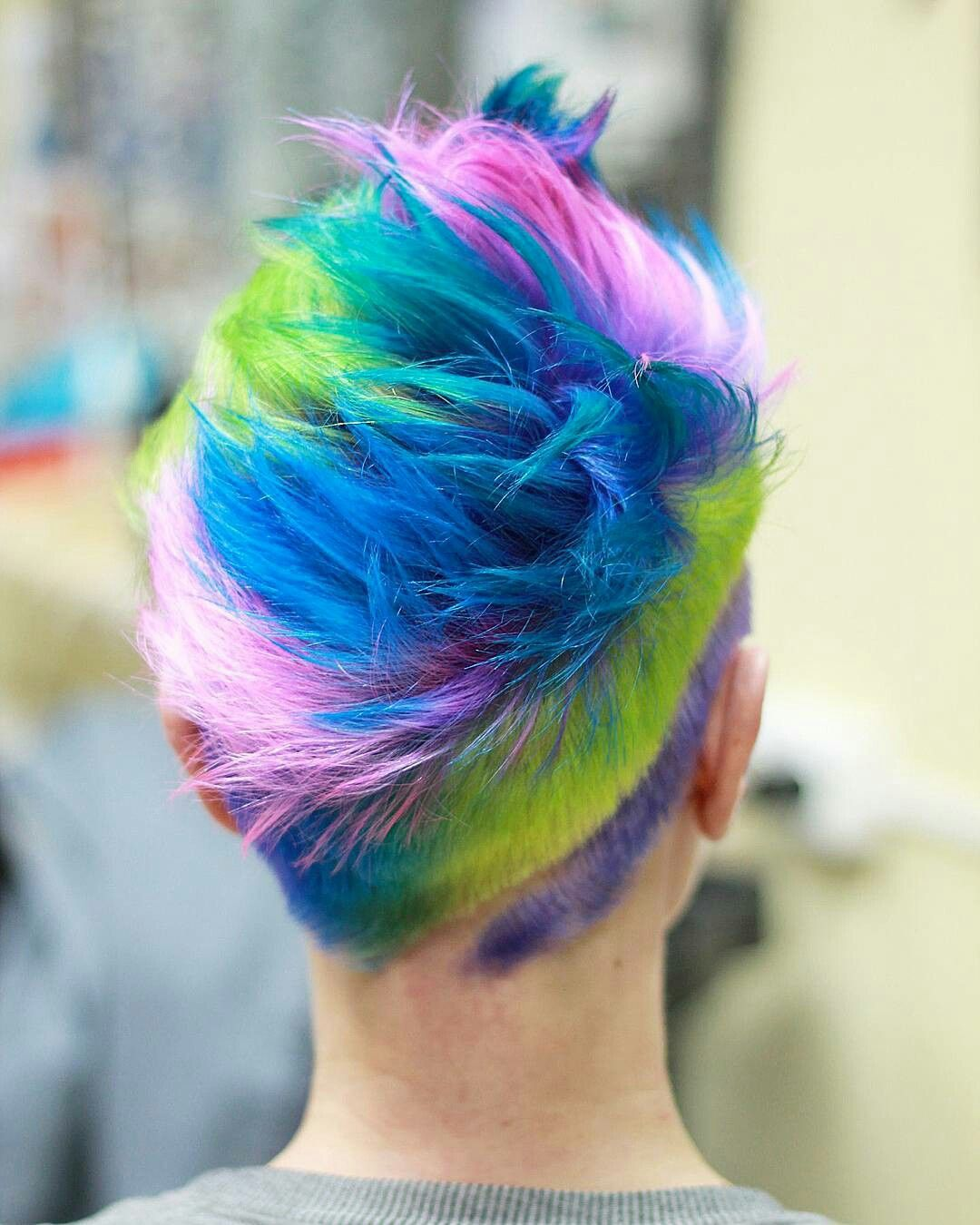 Pink blue green and purple mohawk undercut emo hair and other