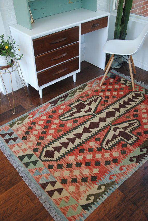 Handmade Afghan Wool Kilim Rug