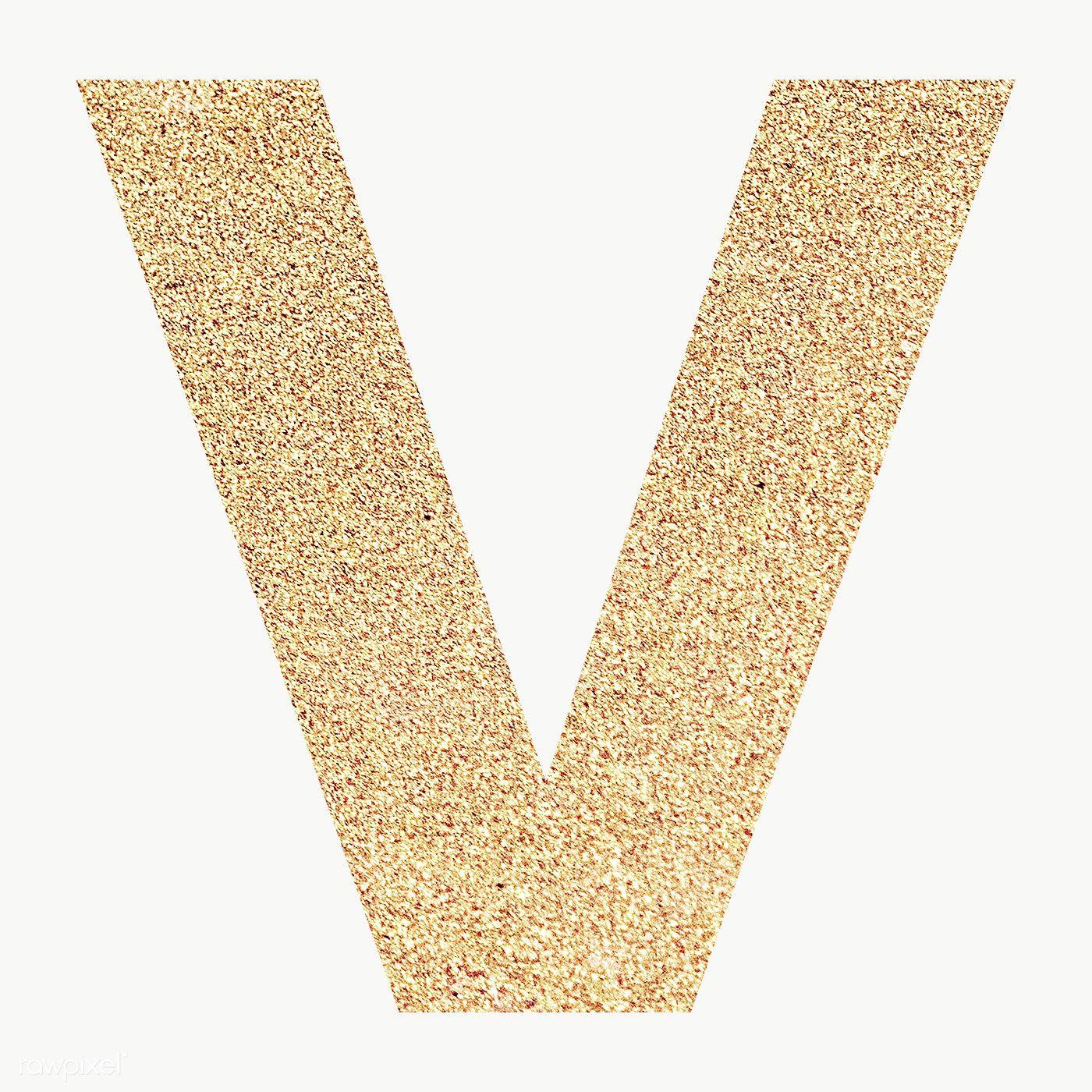 Glitter capital letter V sticker transparent png free