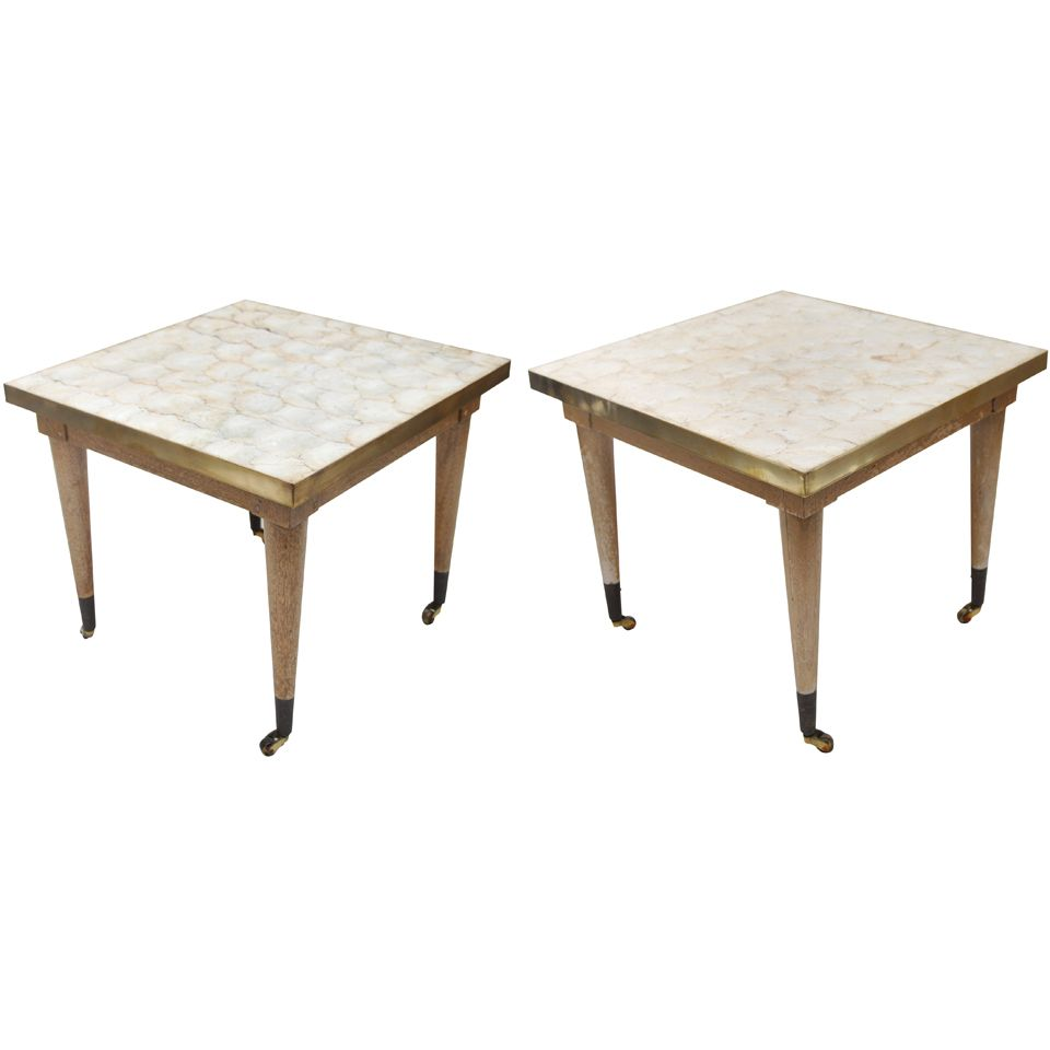Mica Shell Top Tables on casters   1stdibs.com