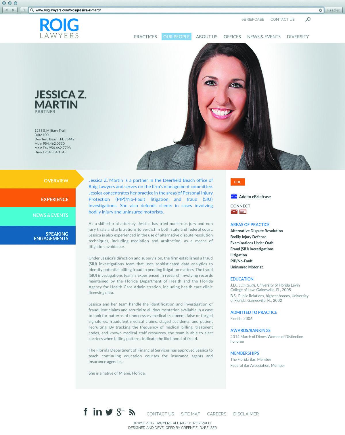 Roig Lawyers Bio Detail Page Web Development Design Law Firm Marketing Lawyer