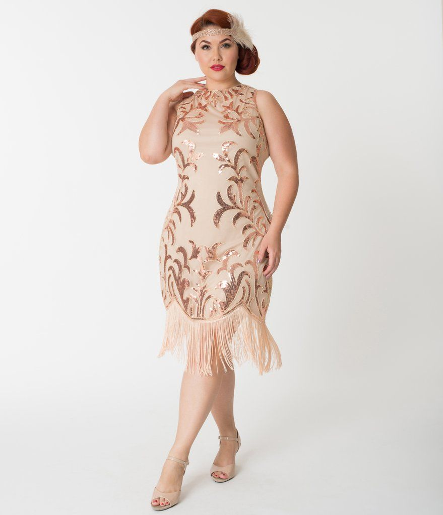 Plus Size 1920s Rose Gold Sequin Nikita Flapper Dress ...