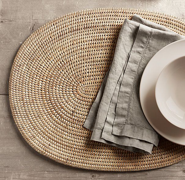 Handwoven Rattan Oval Placemats (Set Of 2)   U0027Whiteu0027 One Of Several Choices  For Round Tables