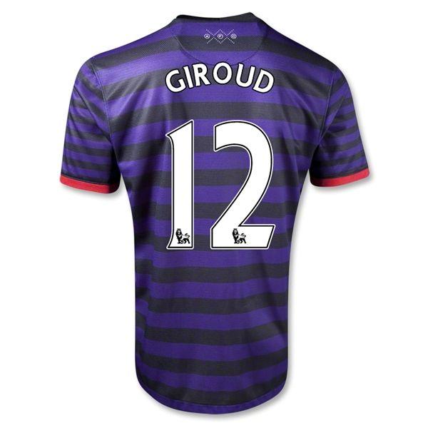12/13 cheap Arsenal #12 GIROUD Away Black and Blue Soccer Jersey Shirt  Replica