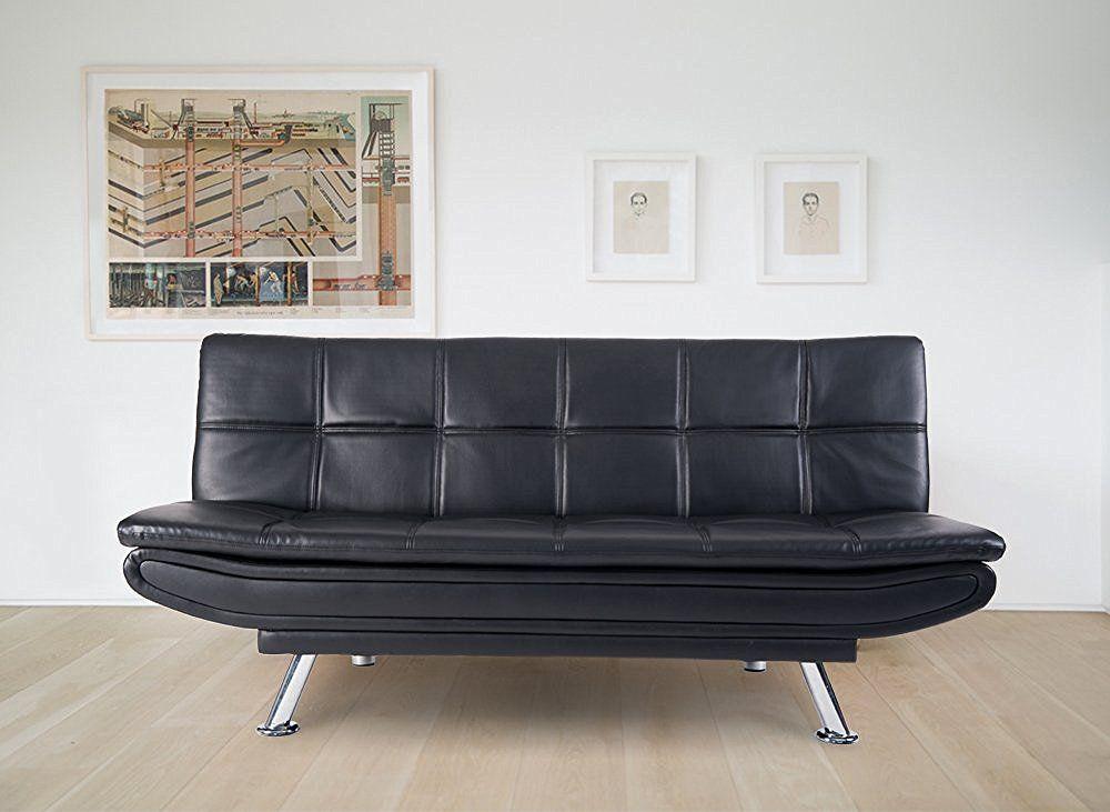 Life Carver Adjustable Black Faux Leather Sofa Bed Soft ...