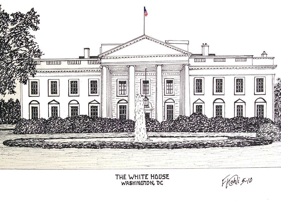 Ink Drawings Drawing The White House By Frederic Kohli White House Drawing House Sketch House Colouring Pages