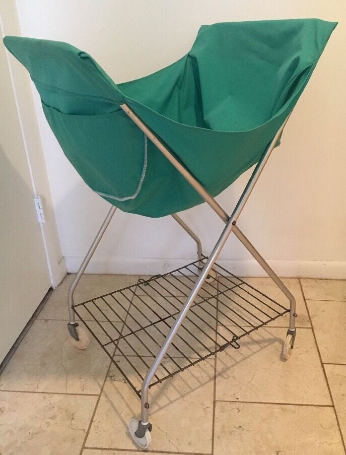 Vtg Rolling Laundry Cart Basket Wheels Metal Folding Hamper Mid