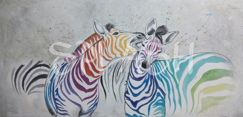Cebras de colores SP761 # cuadros de animales# cuadros pintados a ...