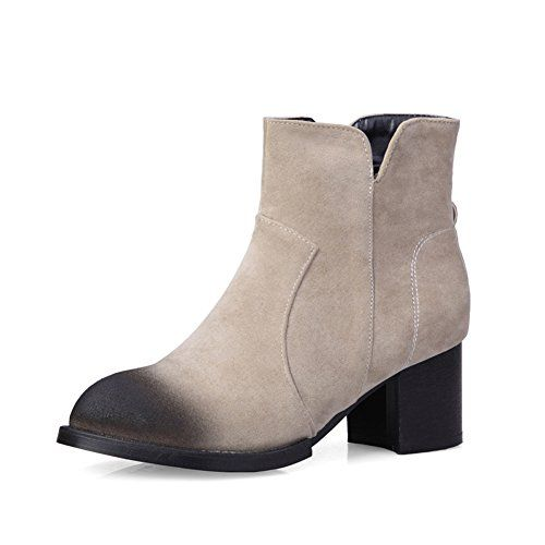 Leylda Womens Stylish Zipper Suede Booties Ankle Boots Beige 65 DM ...