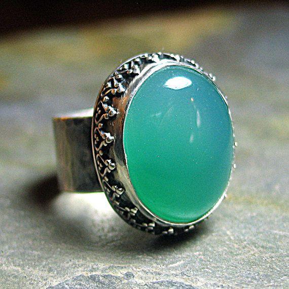 Green Agate Ring Sterling Silver Artisan Metalwork Filgree