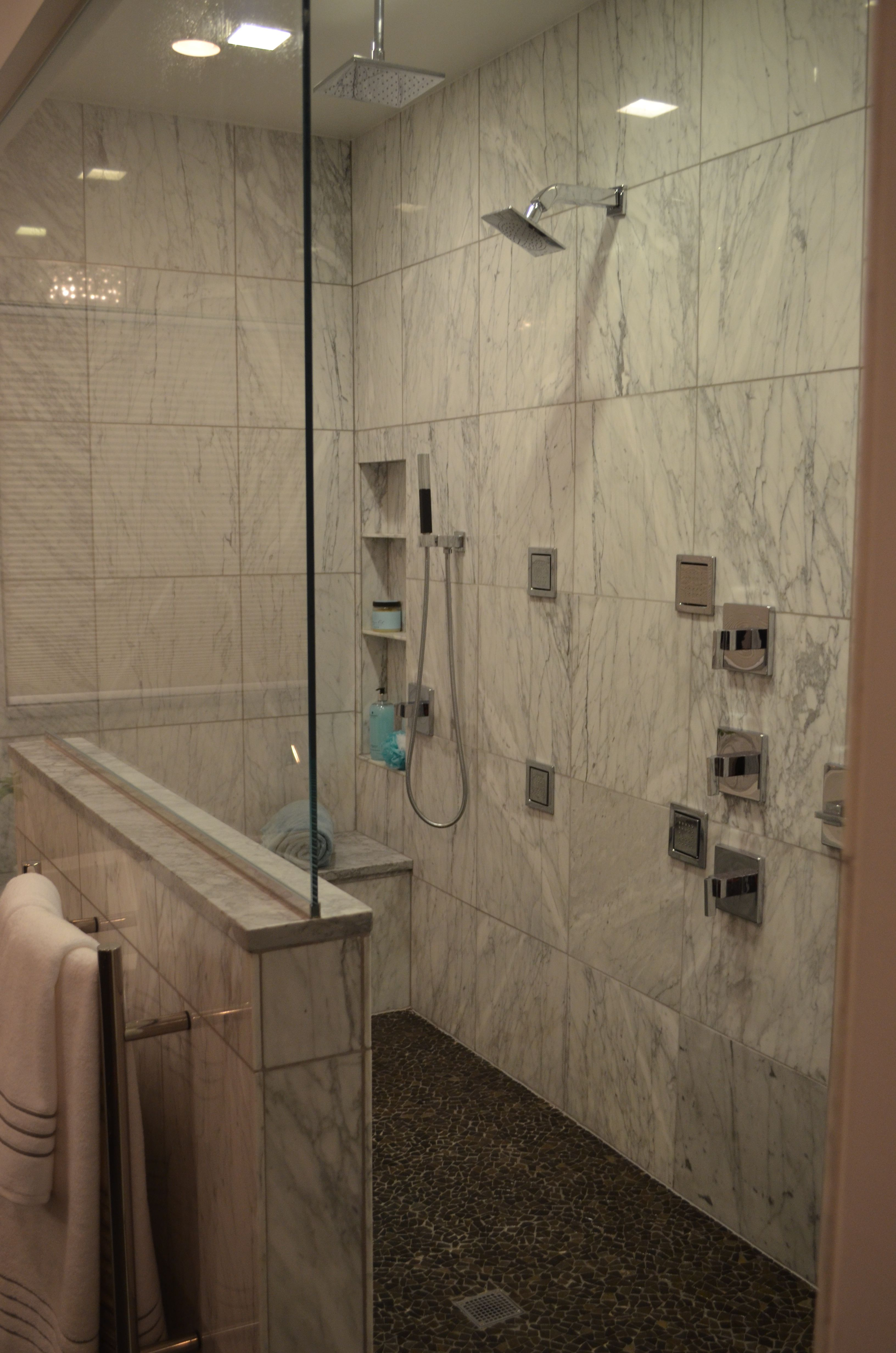 walk in shower with carrara marble kohler loureu0027 fixtures to include body sprayers