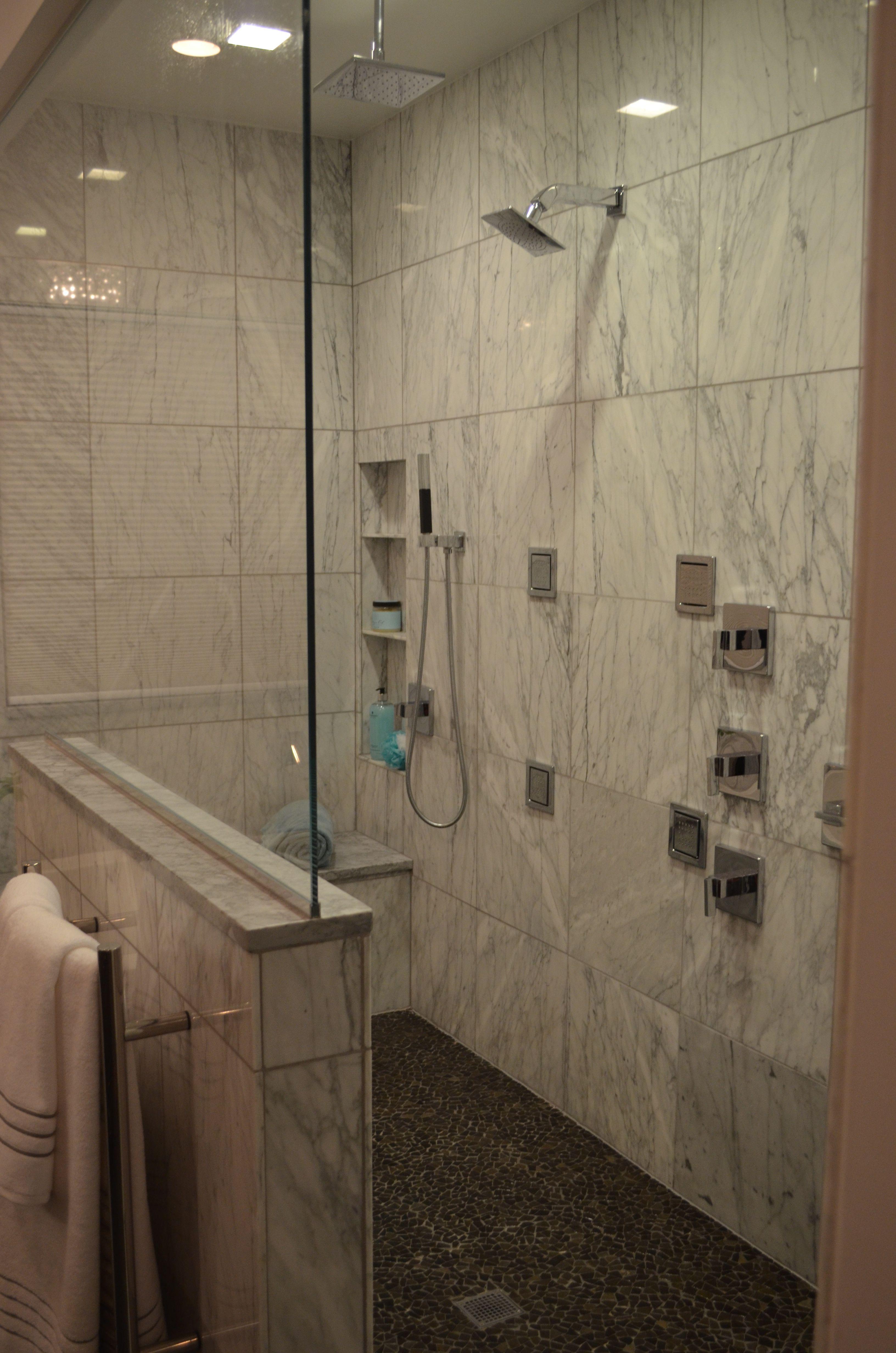Walk In Shower With Carrara Marble Kohler Loure Fixtures To Include Body Sprayers Rain Shower Head Tradition Shower Tile Elegant Bathroom Rain Shower Head