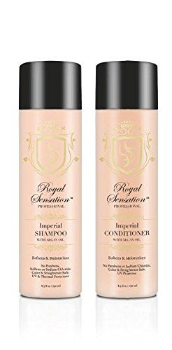 Professional Shampoo and Conditioner Set Argan Oil Infused Smoothing Volumizing  Moisturizing Gentle on Curly  Color Treated  Hair Extensions Works Great For Men  Women 2 x 85 Oz ** To view further for this item, visit the image link.