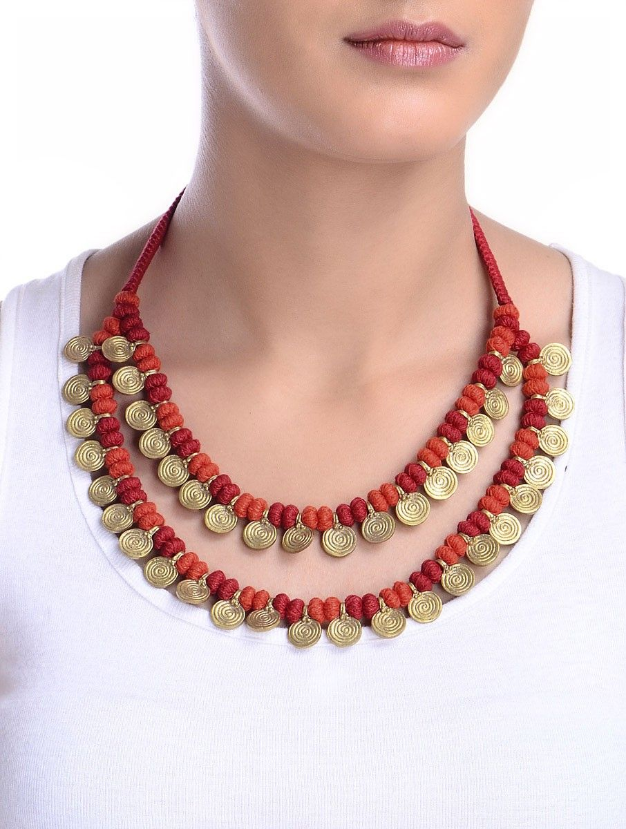d3a1793df0cc Buy Golden Red Hand Knotted Two Line Brass Beads Necklace Metal Alloy  Cotton Thread Fashion Jewelry Necklaces Pendants Online at Jaypore.com
