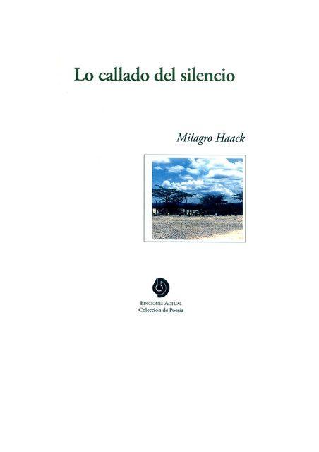 Lo Callado del Silencio poesía