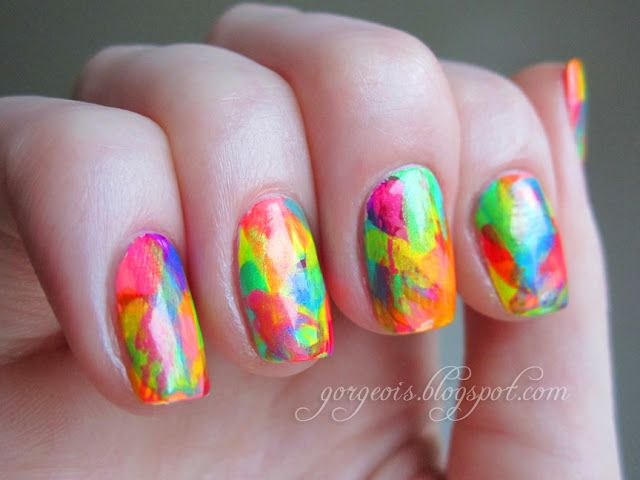Neon abstract brush stroke nails awesome nails pinterest abstract brush stroke nail art from gorgeois prinsesfo Images