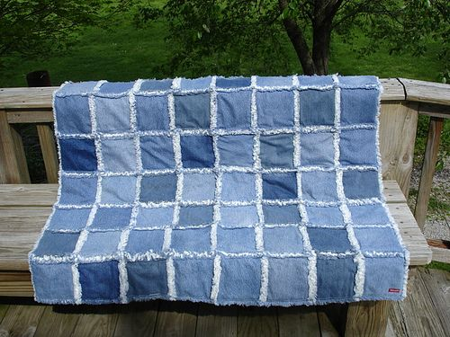 Rag Jean Quilt | Flannel blanket, Reuse recycle and Rag quilt : blue jean rag quilt - Adamdwight.com