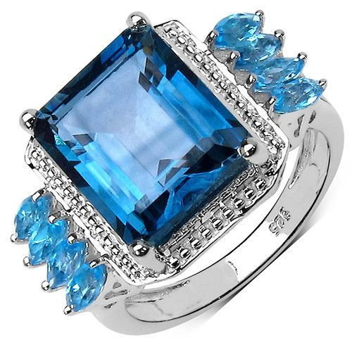 8.16 Carat Genuine London Blue Topaz and Swiss Blue Topaz .925 Sterling Silver Ring