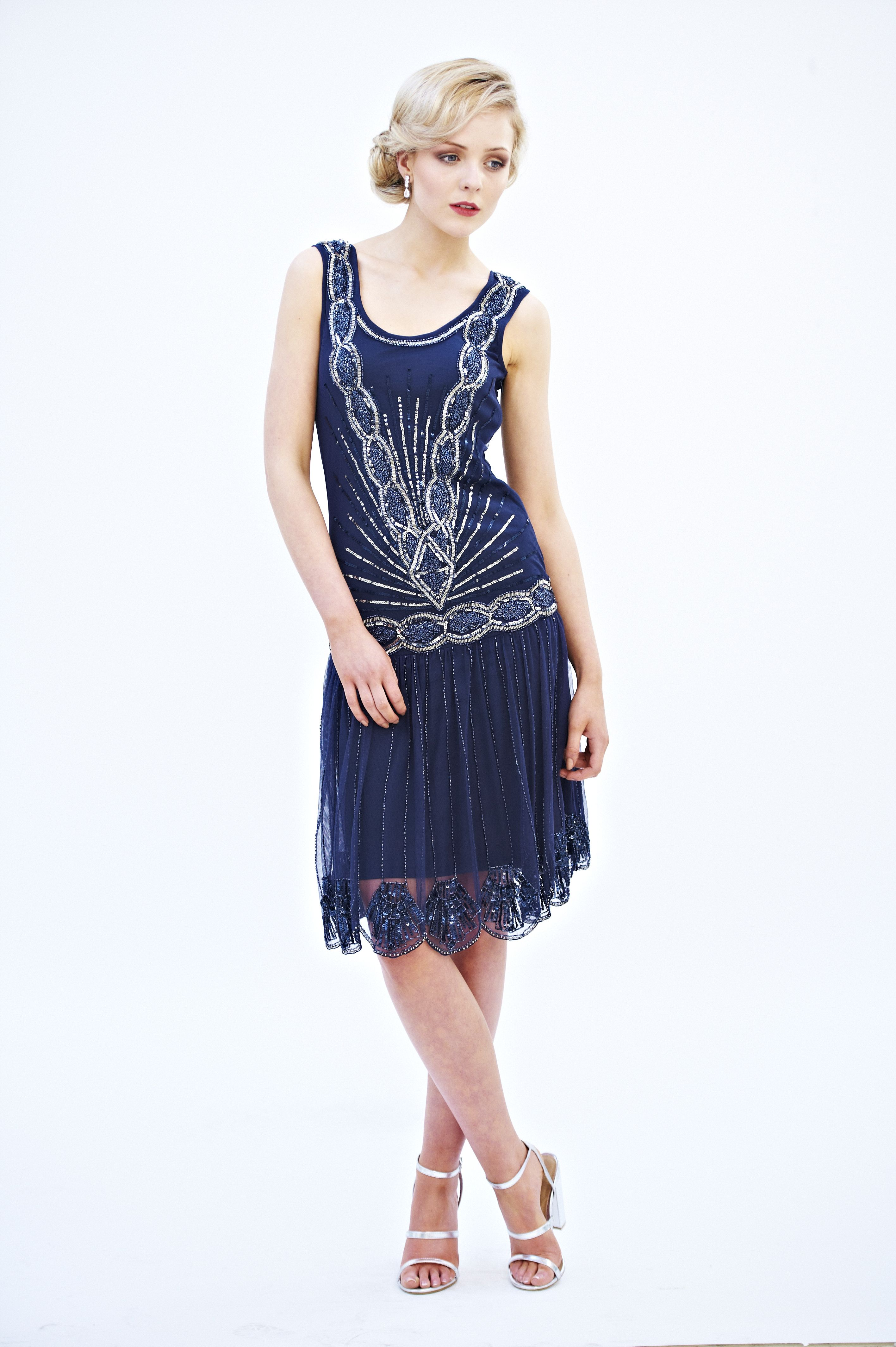 frock and frill zelda flapper dress in navy frockandfrill gatsby party theme flapper. Black Bedroom Furniture Sets. Home Design Ideas