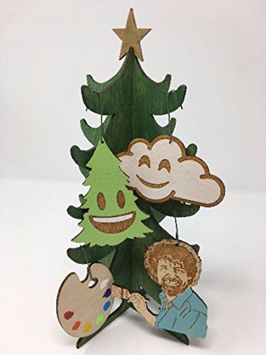 handmade bob ross happy little artist christmas ornament set - Ross Christmas Decorations