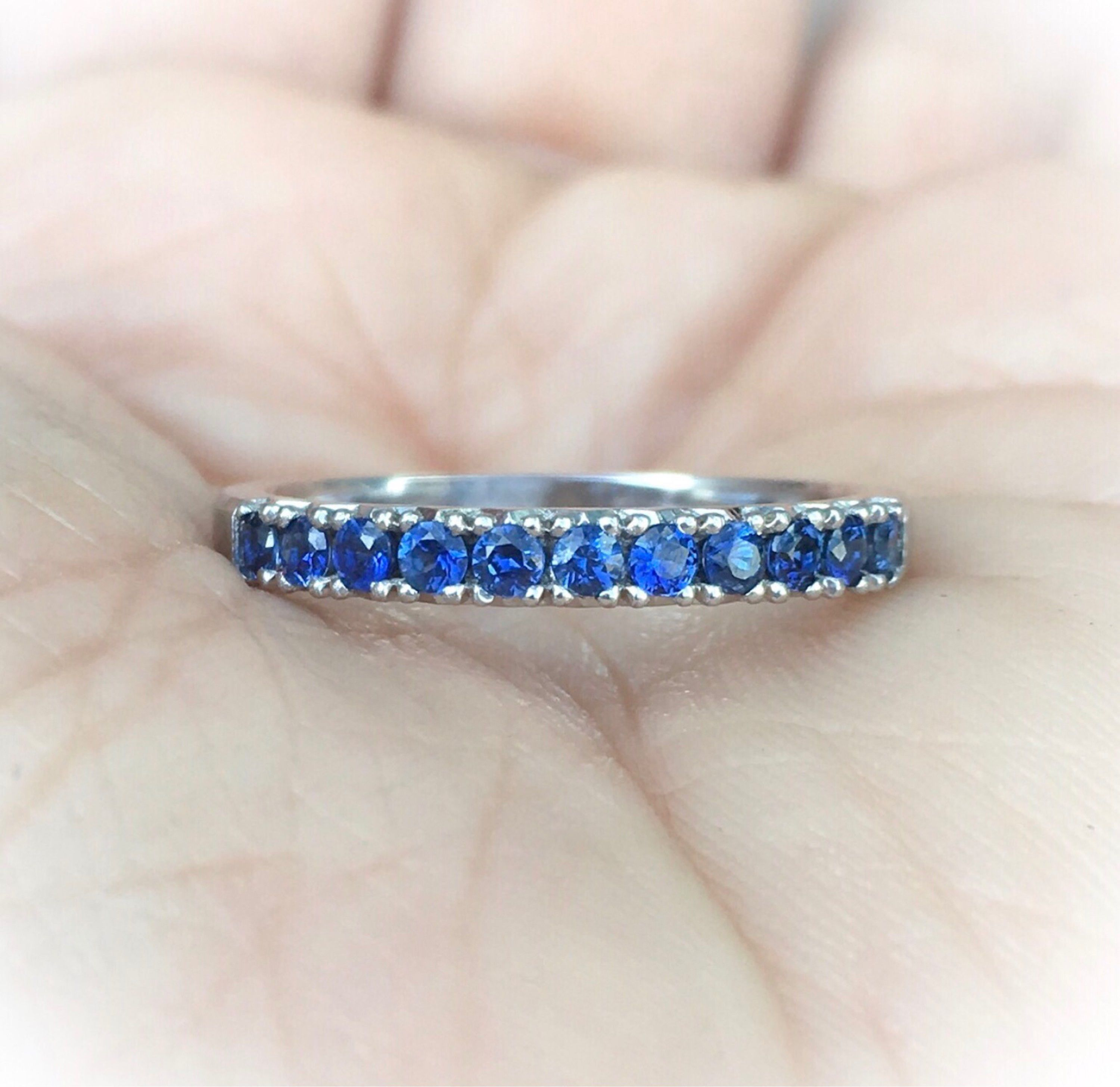 Sapphire Eternity Band 14k Blue Sapphire Ring Matching Eternity Band Sapphire French Pave Prong Set Infinity Band Birthstone Stack Ring Sapphire Eternity Band Blue Sapphire Rings Gemstone Engagement Rings
