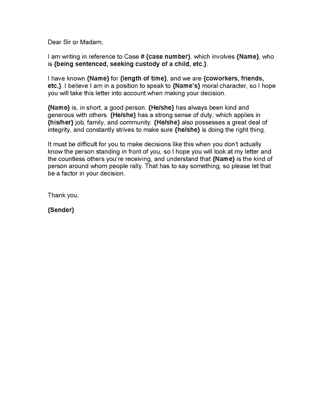 Character Letter for Judge | Character Reference Letter for a Judge ...