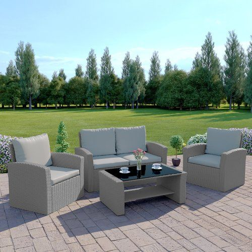 Zipcode Design Sophie 4 Seater Rattan Sofa Set Garden Sofa Set Garden Sofa