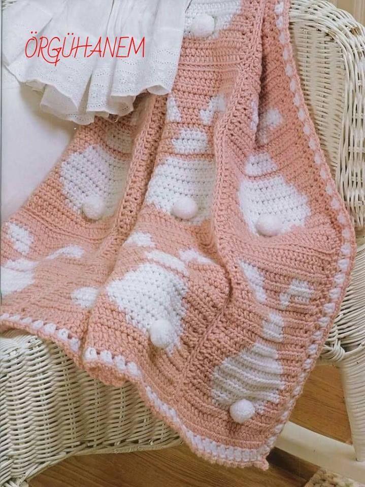 Patrón #718: Manta de Conejo a Crochet | crochet | Pinterest ...