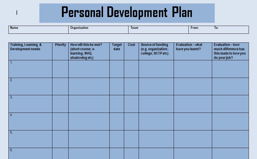 Get Personal Development Plan Doc Templates  Excel Project