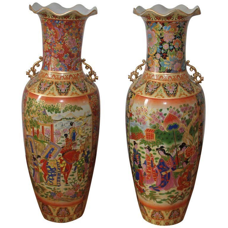 Pair Of 1stdibs Vases Two Handled Baluster Waved Rims Japanese Modern Porcelain Vase Antique Vase Asian Vases