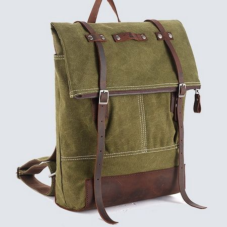 This unisex top fold rucksack was created for heavy use and is efficient, stylish and comfortable with its slim profile, and it would work great for outdoor hunter, travel, city cruiser or school.   This backpack is made of water washed 16oz military green cotton canvas, sick leather, lined wit...