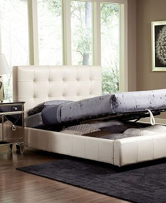 Hawthorne Bedroom Furniture Collection, White Leather Storage Beds