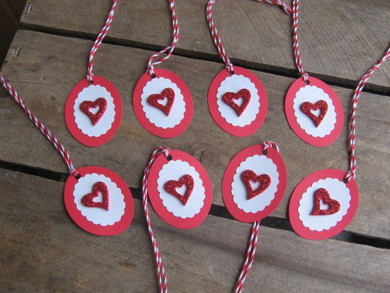 Heart Valentine Gift Tags Set of 8 Red and White by SnowNoseCrafts, $4.00