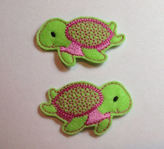 Sea Turtle Felt Barrette Snap Clips in Green and by PJSEMBROIDERY, $6.00