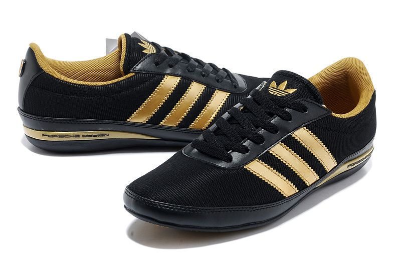 black and gold adidas trainers